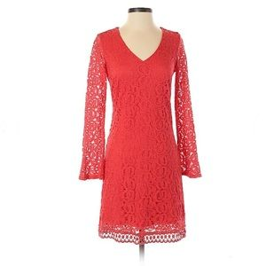 Coral red cocktail dress